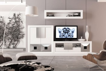 Elite Matte White and Silver Wall Unit and Entertainment Center