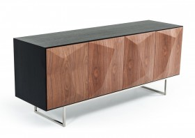 Four Door Contemporary Wenge Buffet With Walnut Doors