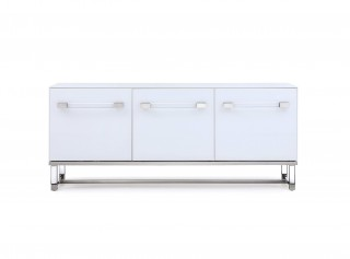 High Gloss White Buffet with Polished Stainless Steel Frame