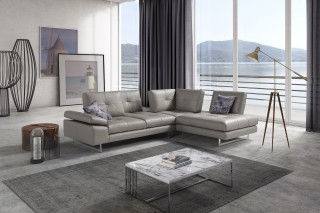 Advanced Adjustable Tufted Leather Sectional with Chaise