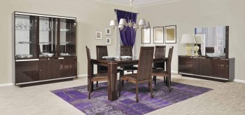 Extendable Rectangular Wood and Leather Italian Modern Dining Room with Leaf