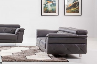 Modern Light Grey Top Grain Leather Three Piece Living Room Set