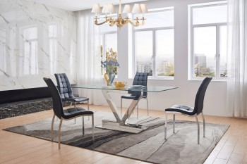 Graceful Rectangular Clear Glass Top Leather Designer 5 pcs Table and Chairs