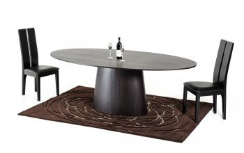 Pedestal Base Rich Brown Oval Wooden Dining Table