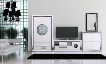 Modern Matte White and Silver Wall Unit and Entertainment Center
