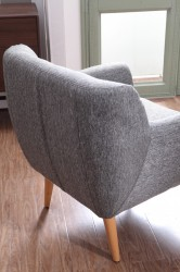 Modern Fabric White and Grey Accent Chair