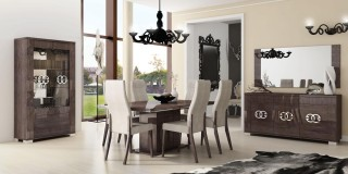 Made in Italy Extendable in Wood Microfiber Seats Modern Dining Set