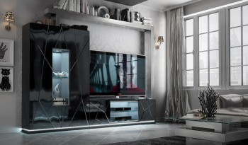 Black Wall Unit with Stripe Design and LED Light