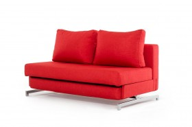 Contemporary Red Fabric Sofa Bed with Chrome Legs
