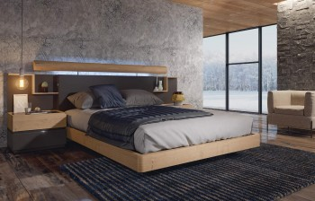 Made in Spain Wood Modern Platform Bed with Extra Storage