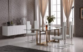 Modern Tempered Glass and Brass Dining Set