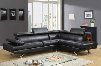 Stylish Black or White Sectional with Adjustable Head and Armrests