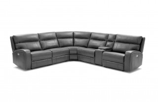 Advanced Adjustable Sectional Upholstered in Real Leather with End Table
