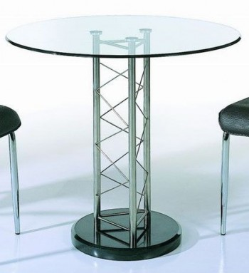 Round Glass Dining Table with Black Marble Base