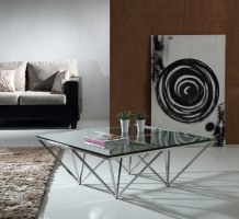 Geometric Tampered Glass and Stainless Steel Coffee Table
