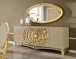 Light Beige High Gloss Buffet with Mirror
