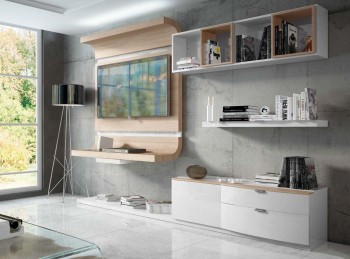 Elegant White Wall Unit with Entertainment Center for Living Room