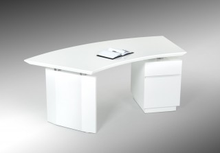 Elegant White Gloss Finish Desk with Stainless Steel Accents