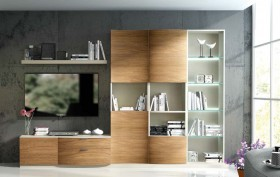 Modern Natural Wood Wall Unit and Entertainment Center