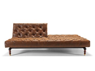 Retro Traditional Style Tufted Sofa Bed in Vintage Brown Leather