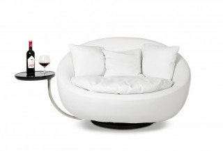 Modern Swivel Round White Leatherette Lounge Chair