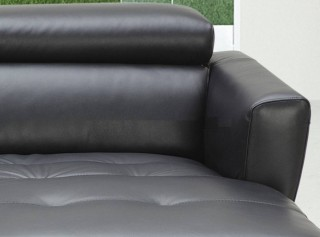 Black Leather Contemporary Sectional Sofa with Tufted Seating