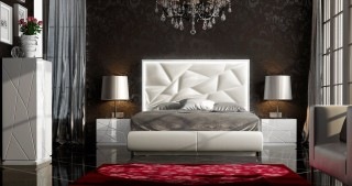 Made in Spain Leather Platform Bedroom Set with Upholstered Headboard