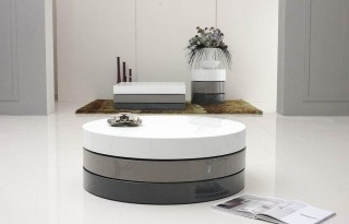 Lacquered 3 Tone Round Coffee Table