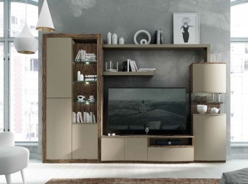 Elite Natural Wood Wall Unit and Entertainment Center