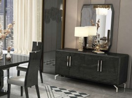 Elite High Gloss Grey Buffet with Silver Accents