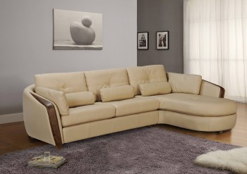 Taupe Bonded Leather Sectional Sofa with Ash Wood Accent