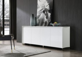 White High Gloss Buffet with Stainless Steel Base