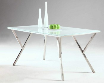 Tempered White Glass Table with Brilliant Chrome Y Shaped Base