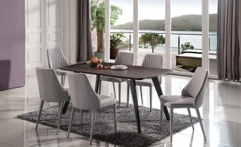 Graceful Rounded Top Fabric Five Piece Dining Set