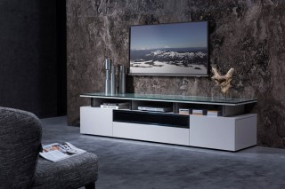 Grey Lacquer Living Room TV Stand with Glass Top