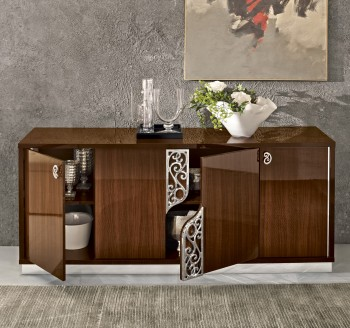 Four Door Walnut Color Cabinet Upscale Look Buffet