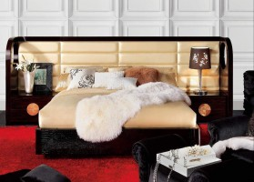Lacquered Graceful Leather Platform And Headboard Bed