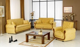 Manolia Fabric Sofa Set with Wood Accent