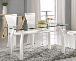 White Dining Table with Upholstered Legs