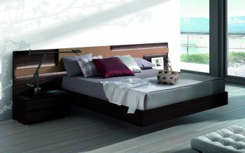 Lacquered Made in Spain Wood Elite Platform Bed with Large Headboard