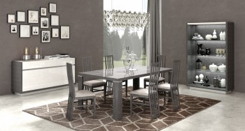 Extendable Wooden Made in Italy Modern Dining Set