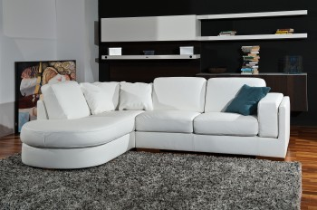 Luxury Leather Curved Corner Sofa with Pillows