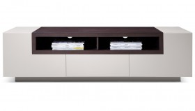 High Gloss Grey TV Stand Media Console with Dark Oak Shelves