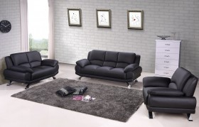 Black Genuine Leather Sofa Set with Tufted Pillows