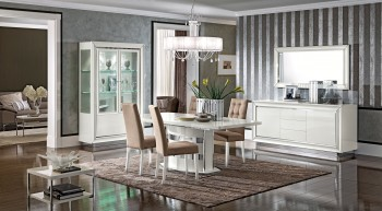 Contemporary Dining Set with Pedestal Base and Matching Back Chairs