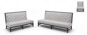 K-2363 Contemporary Fabric Sofa Set with Button Tufted Back