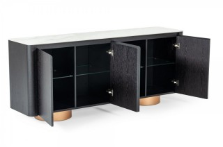 Black Oak Buffet with White Ceramic Marble Look Top