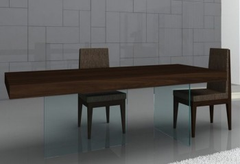 Float Contemporary Dining Table in Timber Chocolate with Glass Base
