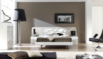 Graceful Lacquered Contemporary Modern Bedroom Sets with Curve Design