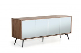Ultra Contemporary Walnut Buffet with Mirrored Doors